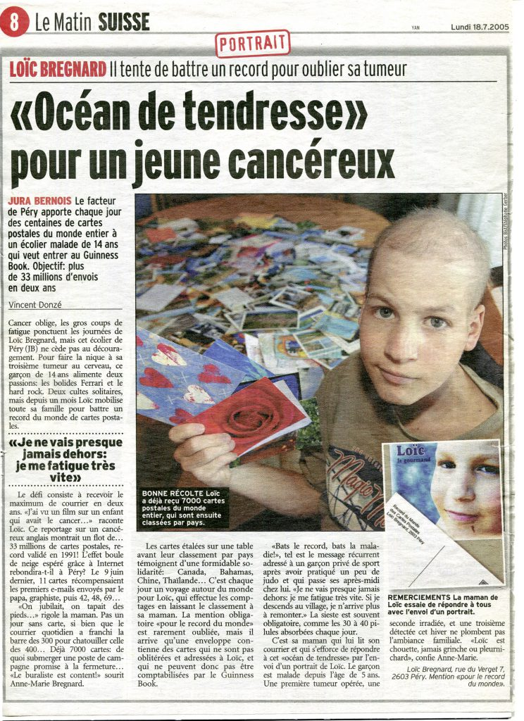 L'article sur e Record du Monde paru dans Le Matin